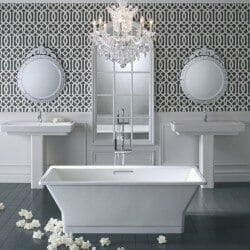 Classic bathroom suite with freestanding bath and twin basins
